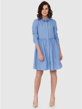 Blue Striped Frill Detail Shirt Dress