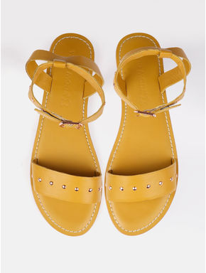 Golden Studded Leather Flats
