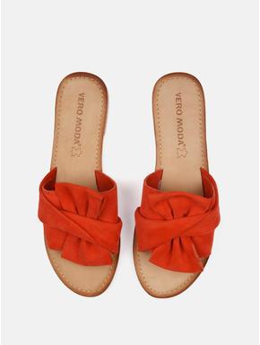 Orange Suede Bow Detail Flat Sandals