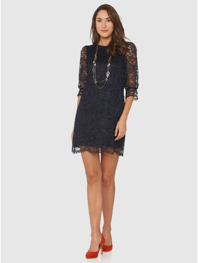 Navy Blue Lace Shift Dress