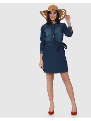 Blue Washed Effect Belted Denim Shirt Dress