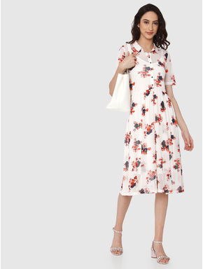 Beige All Over Floral Print Mesh Midi Fit & Flare Dress