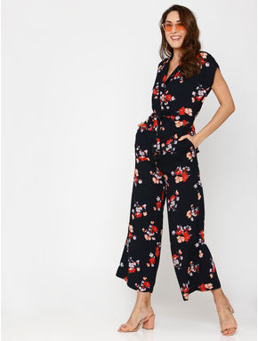 Navy Blue All Over Floral Print Ankle Length Jumpsuit