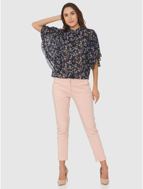 Navy Blue All Over Floral Print Cape Sleeves High Neck Top