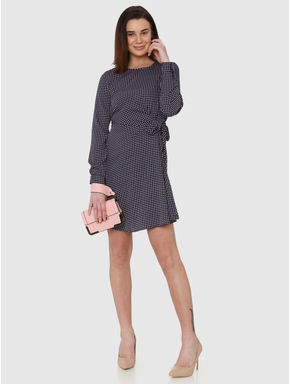 Navy Blue All Over Square Print Tie Up Fit & Flare Dress