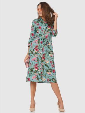 Green All Over Floral Print Tie Up Waist Midi Dress