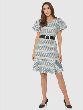 White Striped Ruffle Shift Dress