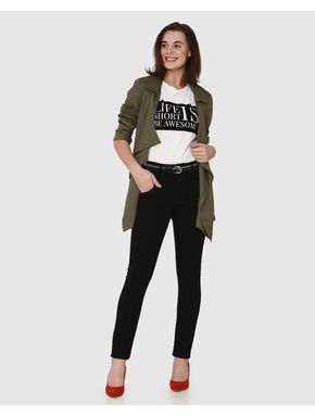 Black High Rise Ankle Length Skinny Fit Jeans