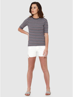 Grey Multicoloured Striped Ribbed T-shirt