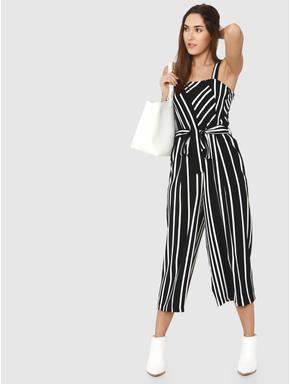 Black Striped Front Tie Jumpsuit