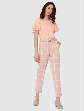 Pink Printed Ruffle Sleeves Top