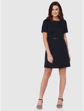 Navy Blue Pattern Blocked Sheath Dress