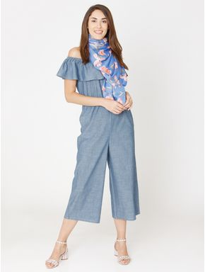Blue Off Shoulder Denim Jumpsuit