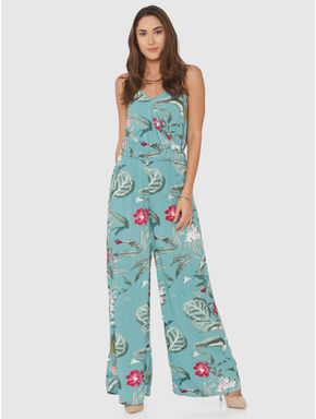 Green All Over Floral Print Maxi Jumpsuit