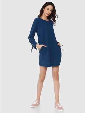 Blue Textured Rivet Tie Up Sleeve Detail Shift Dress