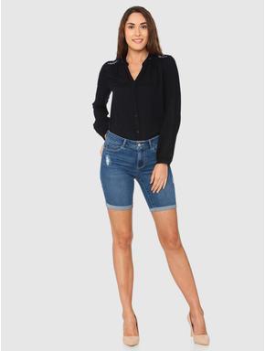 Blue Mid Rise Mildly Distressed Roll Up Hem Slim Fit Denim Shorts