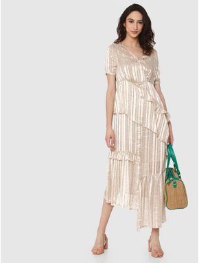 Beige Striped Shimmer Ruffle Detail Maxi Dress