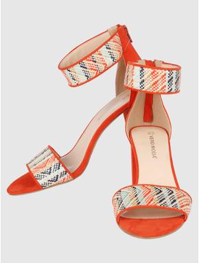 Orange Printed Block Heels