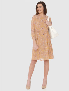 Beige All Over Floral Print Fit & Flare Dress