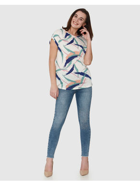 White Colour Blocked All Over Brush Stroke Print T-shirt
