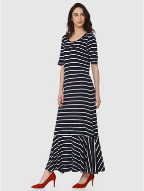 Navy Blue Striped Ruffle Hem Maxi Dress