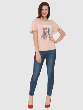 Beige Graphic Print Ruffled Sleeves T-shirt