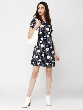 Navy Blue Floral Print Shift Dress