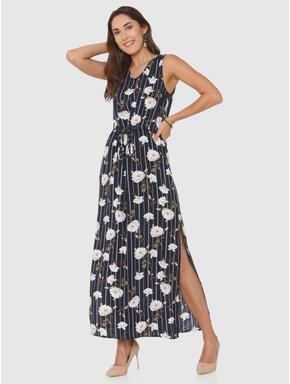 Navy Blue Striped All Over Floral Print Side Slit Maxi Dress