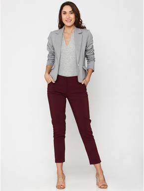 Grey Single Button Slim Fit Blazer