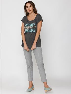 Dark Grey Text Print T-shirt