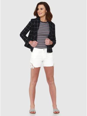 Navy Blue Checks Slim Fit Formal Blazer