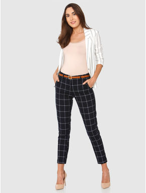 Navy Blue Mid Rise Check Slim Fit Pants