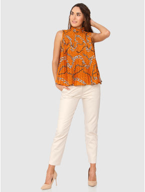 Orange All Over Chain Print Pleated High Neck Top