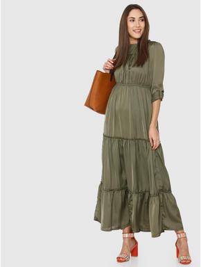 Green High Neck Maxi Dress