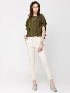 Green Ruffle Sleeves Top