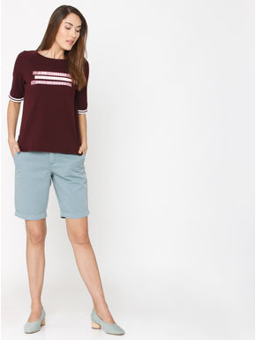 Burgundy Slogan Print T-shirt