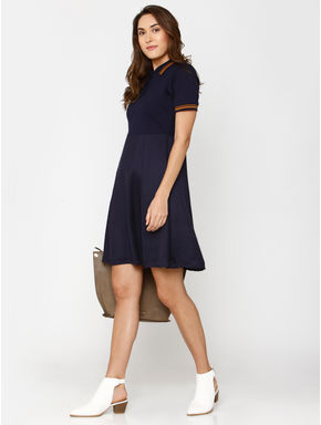 Navy Blue Contrast Tipping Fit & Flare Dress
