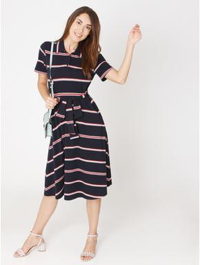 Navy Blue Striped Midi Shirt Dress