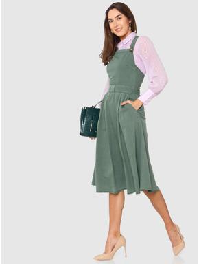 Green Criss Cross Strap and Bow Midi Dress