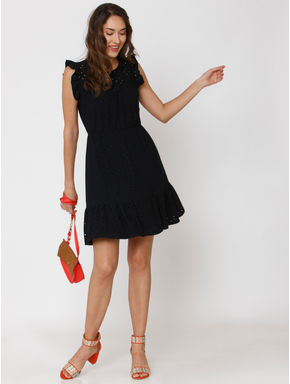 Navy Blue Cut Work Skater Dress