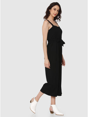 Black Front Tie Flared Cropped Jumpsuit