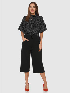 Black All Over Dotted Print Tie Up Collar Flared Sleeves Top