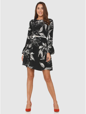 Black All Over Floral Print Flared Sleeves Fit & Flare Dress