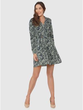 Dark Green Floral Print Fit & Flare Dress