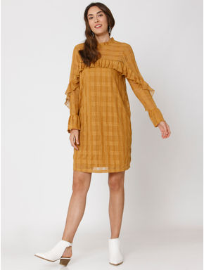 Mustard Check Lace Shift Dress