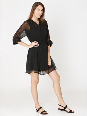 Black Cut Work Fit & Flare Dress
