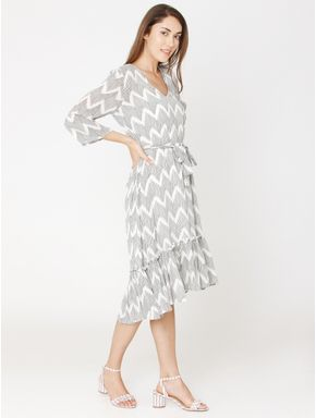 White All Over Print Fit & Flare Dress