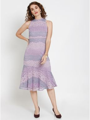 Lavender Lace Flounce Midi Dress
