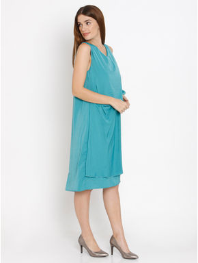 Blue Draped Shift Dress