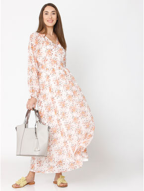 Off-White Floral Print Maxi Dress